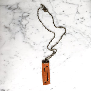 Sketched Arrow Leather Diffuser Necklace