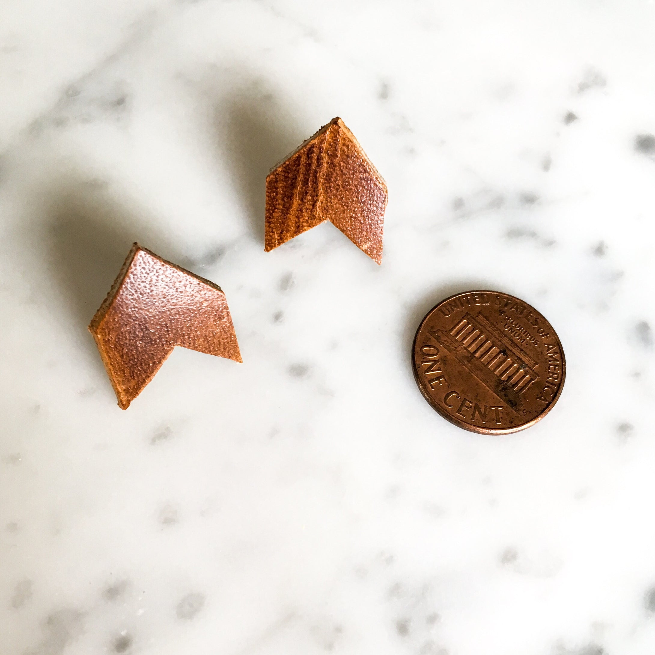 Mini Chevron Leather Post Earring