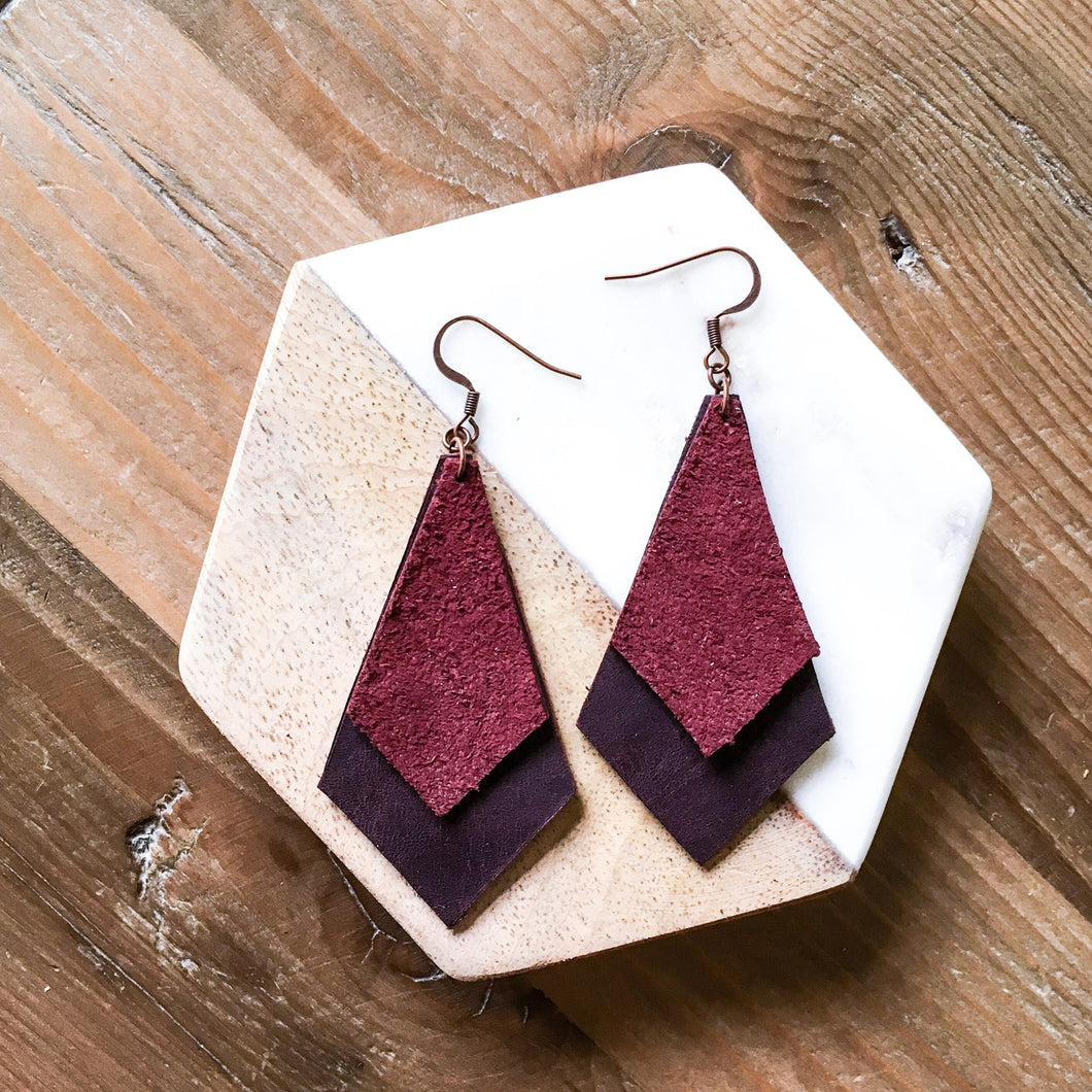 Phoenix Leather and Suede Earring