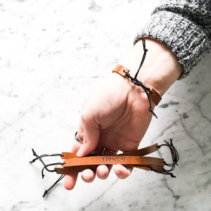 Customizable Leather Tie Bracelet