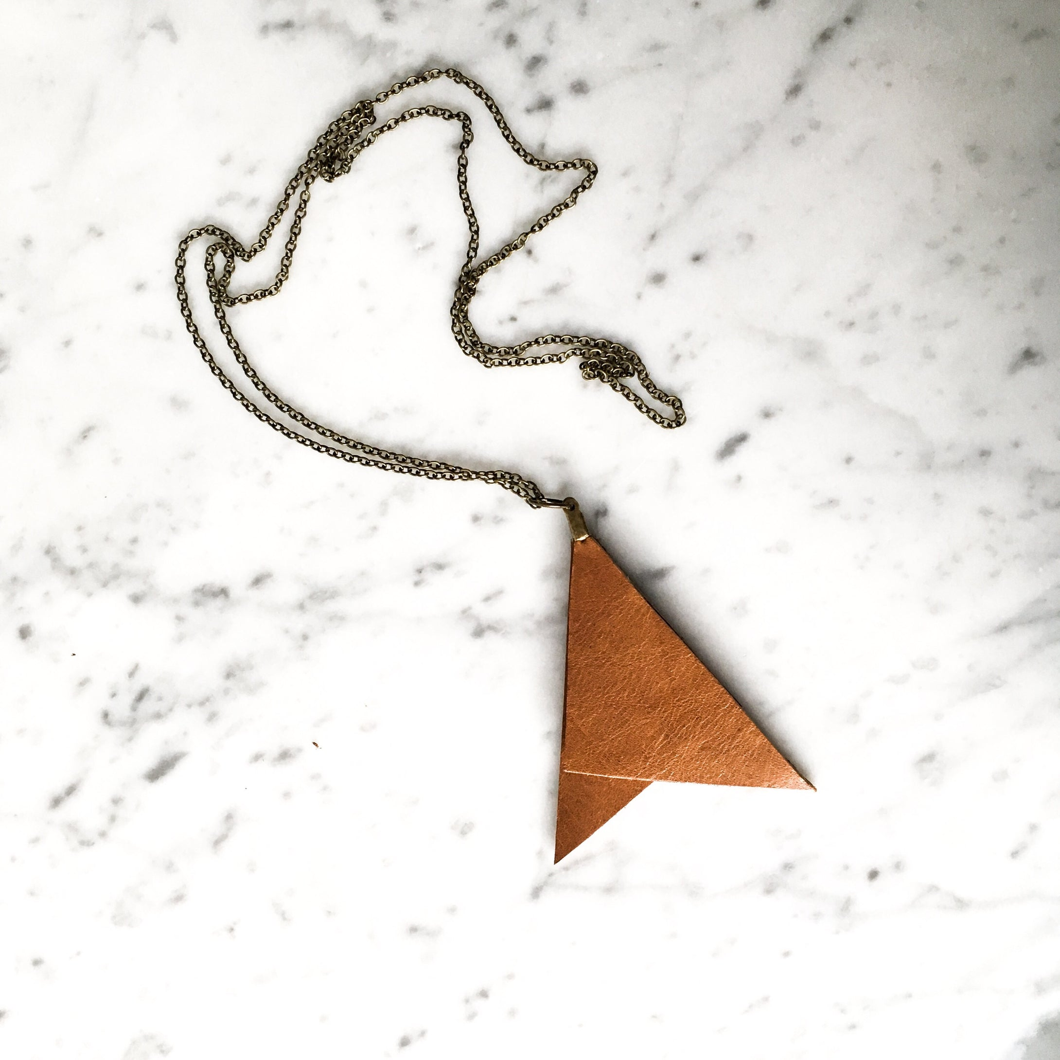 Geometric Leather Pendant Necklace