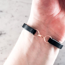 Load image into Gallery viewer, Limited Edition Rose Gold and Black Leather Bracelet