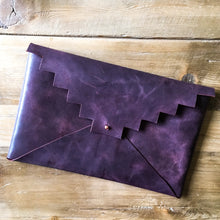 Load image into Gallery viewer, Aztec Leather Envelope Clutch