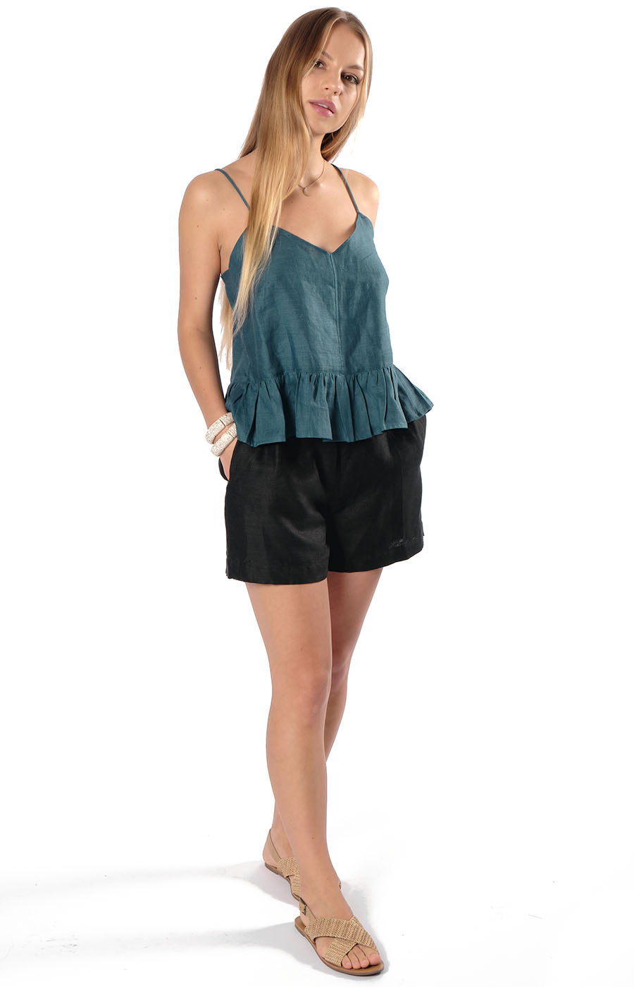 Avery Frill Camisole Teal