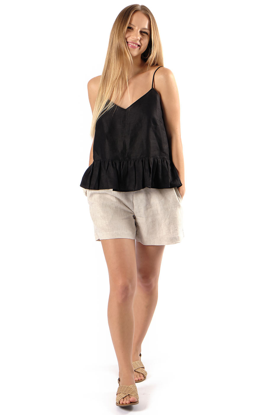 Avery Frill Camisole Black