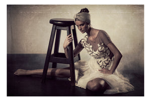 Jacques Weyers - Black Swan 06 - Ballet dancer sitting on the floor near a stool
