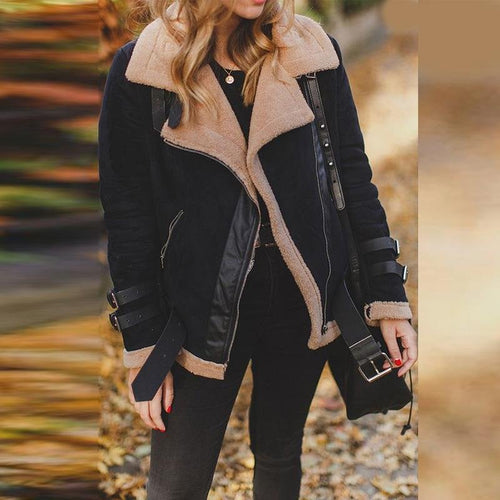 Winter Warm Casual Lapel Collar Zipper Plain Coat