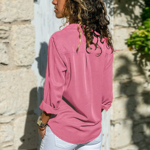 Solid  V Neck Long Sleeve Blouses