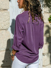 Load image into Gallery viewer, Solid  V Neck Long Sleeve Blouses