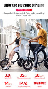 SHI PAO Foldable Electric Bicycle, 350W Brushless Motor 36V 6AH Lithium Battery Smart E-Bike with HD Indicator Panel, IP67 Waterproof and App Aplication