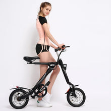 Load image into Gallery viewer, SHI PAO Adult Mini Electric Bikes Fashion & Lightweight 250W 36V Foldable & Portable Electronic Scooter Vehicle with 12'' Tires Aluminum Frame Rechargeable Lithium Battery Smart LED Display