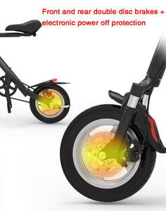 SHI PAO Adult Mini Electric Bikes Fashion & Lightweight 250W 36V Foldable & Portable Electronic Scooter Vehicle with 12'' Tires Aluminum Frame Rechargeable Lithium Battery Smart LED Display