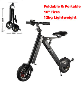 SHI PAO Adult Mini Electric Bikes Fashion & Lightweight 350W 25KM/H Foldable & Portable Electronic Scooter Vehicle with 10'' Tires Aluminum Frame Rechargeable Lithium Battery