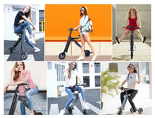 Load image into Gallery viewer, SHI PAO Adult Mini Electric Bikes Fashion & Lightweight 350W 25KM/H Foldable & Portable Electronic Scooter Vehicle with 10'' Tires Aluminum Frame Rechargeable Lithium Battery
