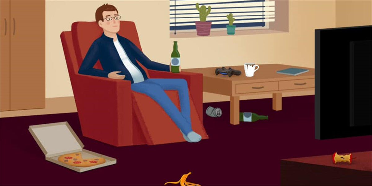 man is alone at home watching tv with food