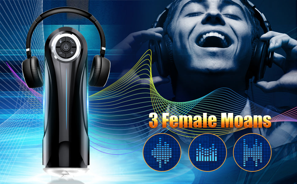 A man wearing a headphone is listening to the moaning of the hands free male masturbator