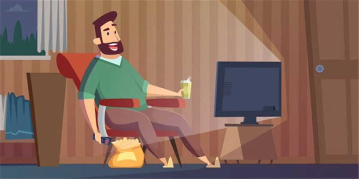 man is watching the tv with food when alone at home