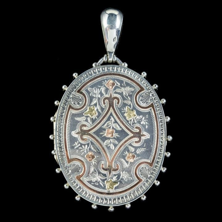 Engraved Silver and Gold Locket
