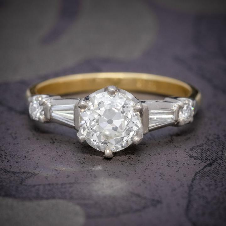 Antique Edwardian Diamond Ring 1.49Ct Diamond Solitaire 18Ct Gold