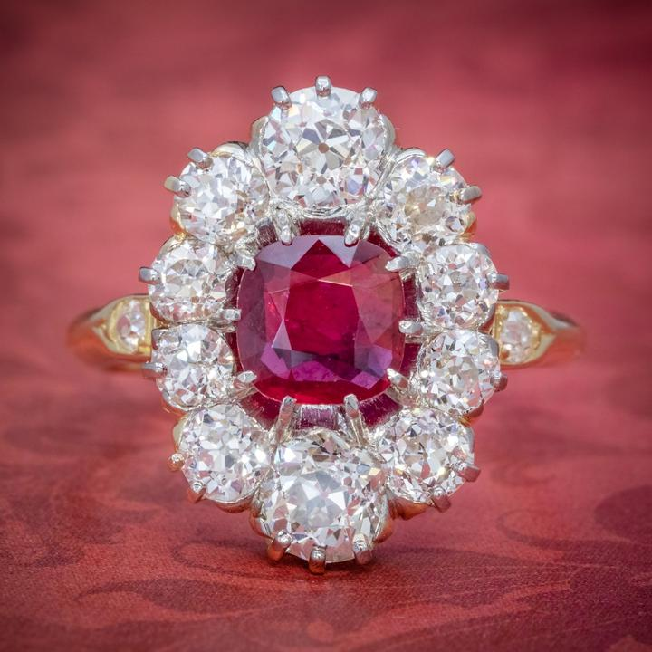 Antique Victorian 1.60Ct Ruby 3Ct Diamond Cluster Ring