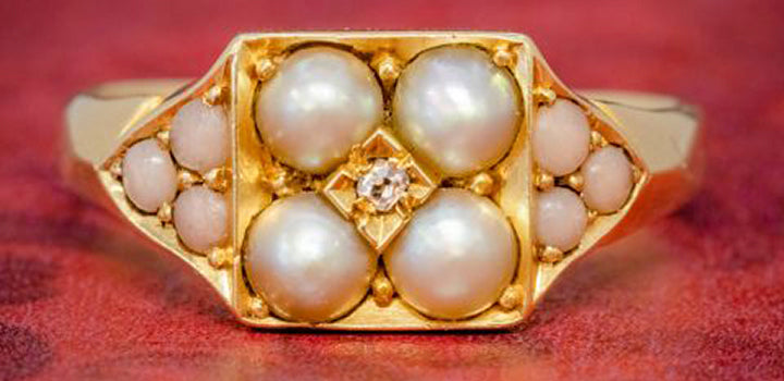 ANTIQUE VICTORIAN PEARL CORAL DIAMOND CLUSTER RING 18CT GOLD DATED 1872