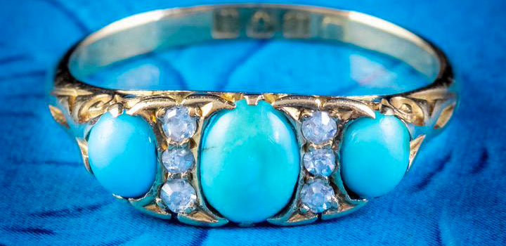 Antique Edwardian Turquoise Diamond Ring 18ct Gold