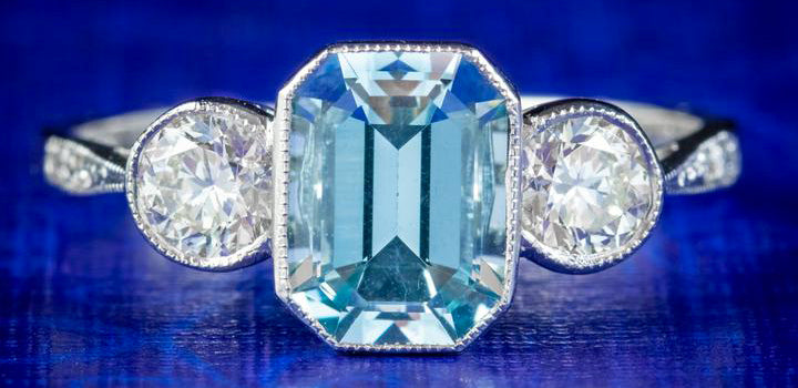 Aquamarine Diamond Trilogy Ring Platinum