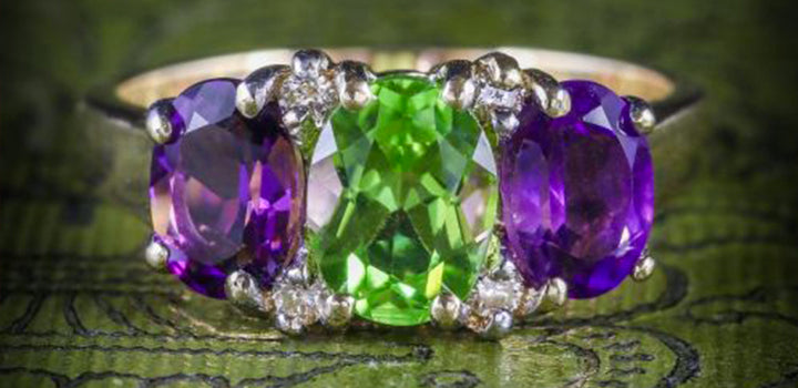SUFFRAGETTE AMETHYST PERIDOT DIAMOND GOLD RING