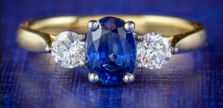 Sapphire Diamond Trilogy Ring 18ct Gold