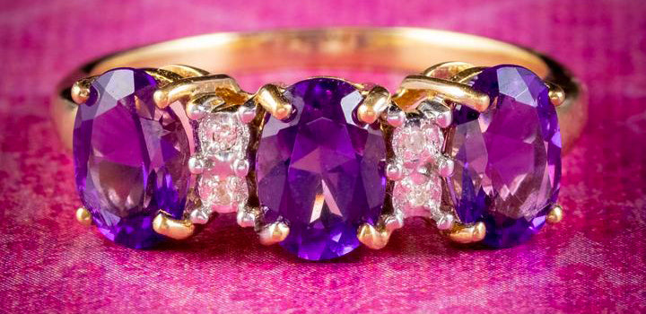 Vintage Amethyst Diamond Trilogy Ring