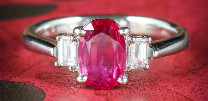 Vintage Ruby Diamond Trilogy Ring 18Ct Gold