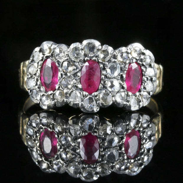 ANTIQUE GEORGIAN RUBY DIAMOND CLUSTER RING 18CT GOLD SILVER CIRCA 1800