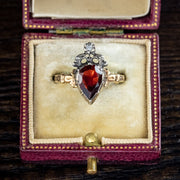 Flat Cut Garnet Diamond Ring 18ct Gold Silver 1.80ct Garnet instagram