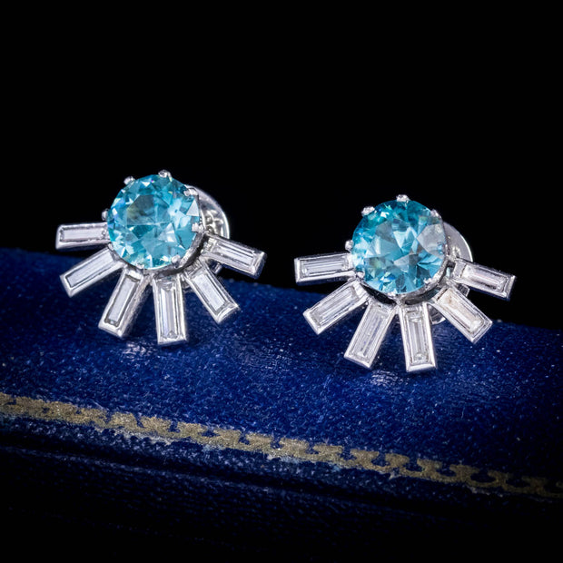 VINTAGE BLUE ZIRCON DIAMOND STUD EARRINGS 18CT WHITE GOLD 3.70CT ZIRCON CIRCA 1950