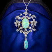 ANTIQUE EDWARDIAN OPAL DIAMOND PENDANT NECKLACE PLATINUM 18CT GOLD 2.50CT OF DIAMOND CIRCA 1905