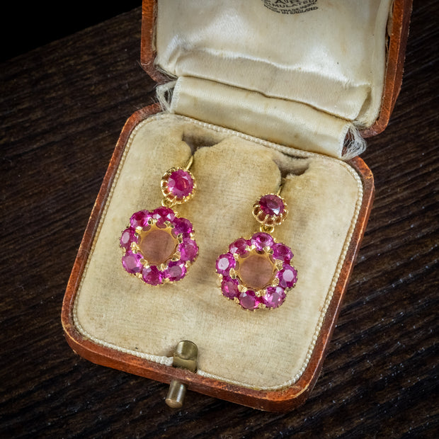 Antique Victorian Natural Ruby Pink Sapphire Earrings 18ct Gold Circa 1880 With Cert