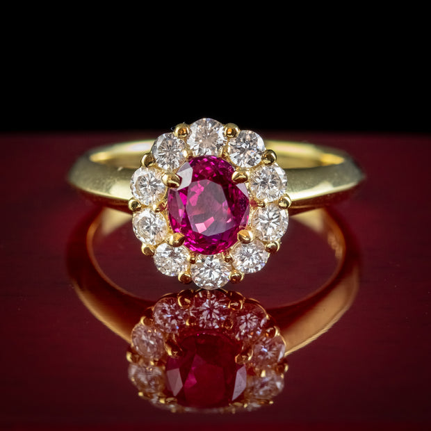 Vintage Burmese Ruby Diamond Cluster Ring 18ct Gold 1.10ct Natural Ruby With Cert