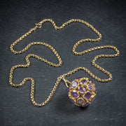 AMETHYST 18CT GOLD ORB PENDANT NECKLACE 9CT GOLD CHAIN