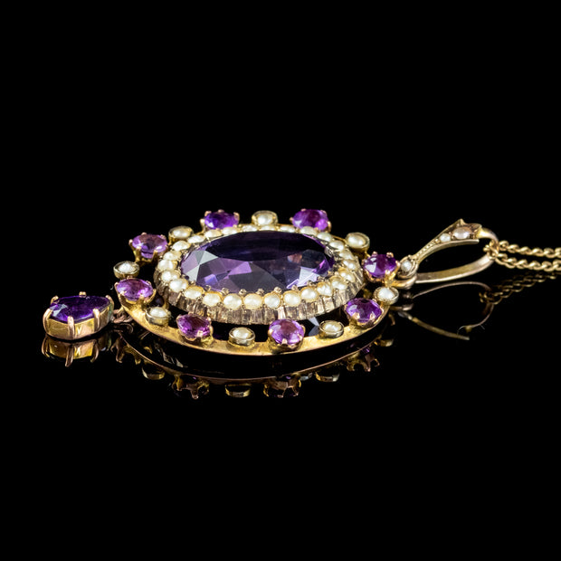 Antique Victorian Amethyst Pearl Pendant Necklace 9ct Gold 12ct Amethyst Circa 1900