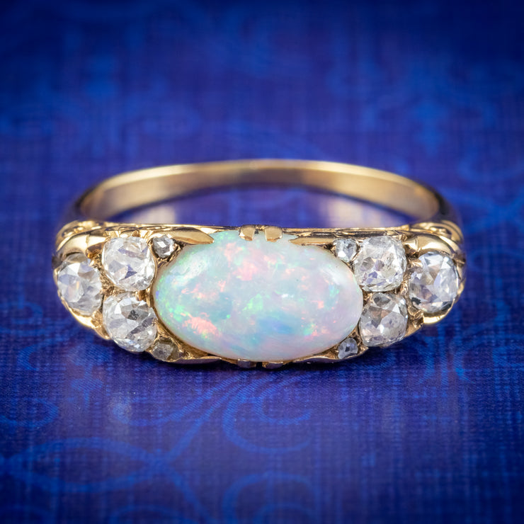 Antique Victorian Opal Diamond Ring 18ct Gold 2ct Opal Circa 1880