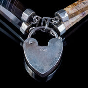 Antique Victorian Scottish Agate Bracelet Sterling Silver Heart Padlock Circa 1860