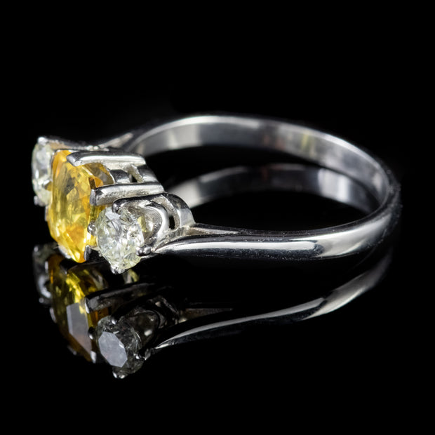 ANTIQUE EDWARDIAN YELLOW SAPPHIRE DIAMOND TRILOGY RING PLATINUM CIRCA 1915