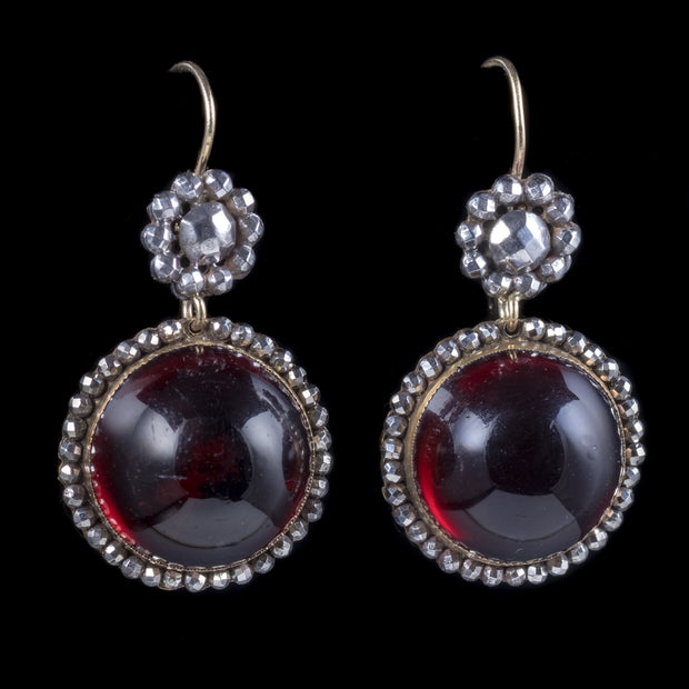 ANTIQUE GEORGIAN CABOCHON RED PASTE EARRINGS CUT STEEL SILVER CIRCA 1830
