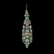 ANTIQUE GEORGIAN EMERALD DIAMOND EARRINGS SILVER 18CT GOLD CIRCA 1800