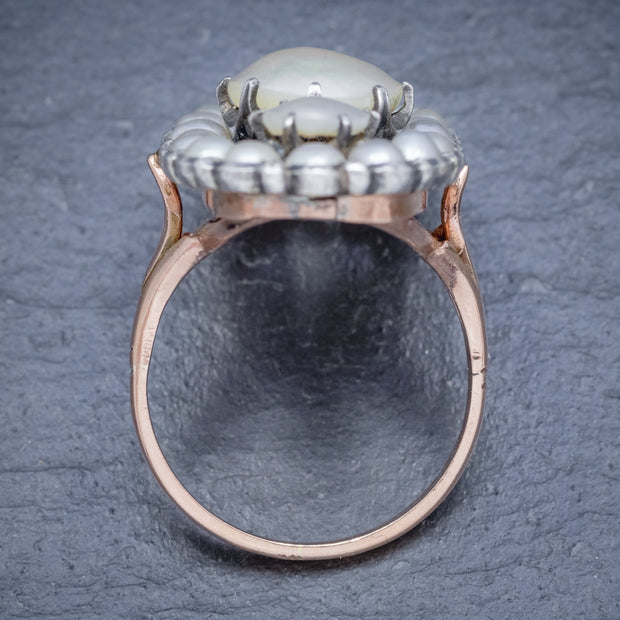 ANTIQUE GEORGIAN NATURAL PEARL DIAMOND RING SILVER 18CT GOLD CIRCA 1820