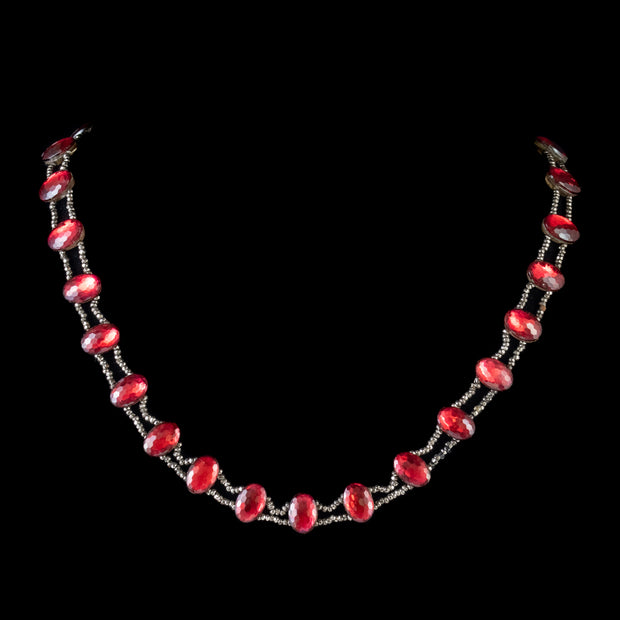 ANTIQUE GEORGIAN RED PASTE STONE COLLAR NECKLACE CUT STEEL CIRCA 1800