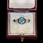 ANTIQUE VICTORIAN TURQUOISE DIAMOND CLUSTER RING 15CT GOLD DATED 1870