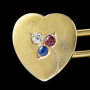 ANTIQUE HEART CUFFLINKS RUBY SAPPHIRE DIAMOND 18CT GOLD GARRARD BOX CIRCA 1890