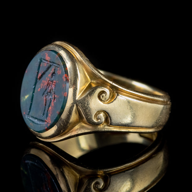 ANTIQUE VICTORIAN BLOODSTONE RING SKELETON ON THE GALLOWS 18CT GOLD DATED 1897