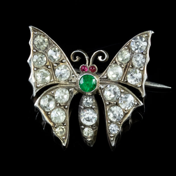 ANTIQUE VICTORIAN BUTTERFLY PASTE BROOCH SILVER CIRCA 1880
